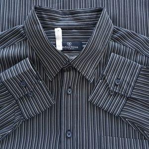 Bugatchi Mens Black Shirt Striped Size XXL